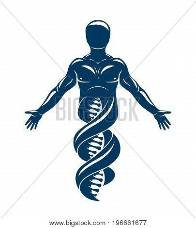 Vector graphic illustration of strong male made as DNA symbol continuation. Bioengineering as the direction of genetics.