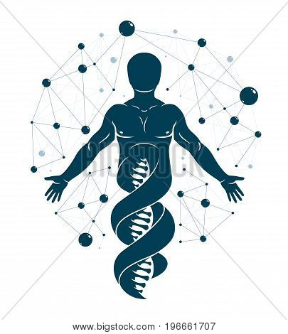 Vector graphic illustration of human made as DNA strands continuation individuality created with mesh wireframe connections. Biochemistry scientific research.