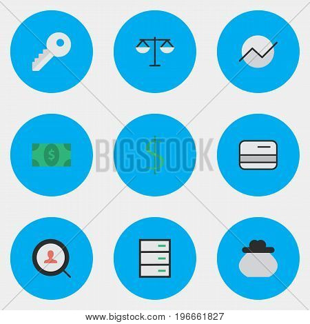 Elements Justice, Opening, Pay And Other Synonyms Chest, Drawer And Locker.  Vector Illustration Set Of Simple Job Icons.