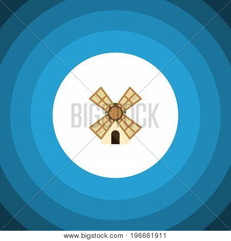 Windmill Vector Element Can Be Used For Windmill, Power, Farm Design Concept.  Isolated Power Flat Icon.