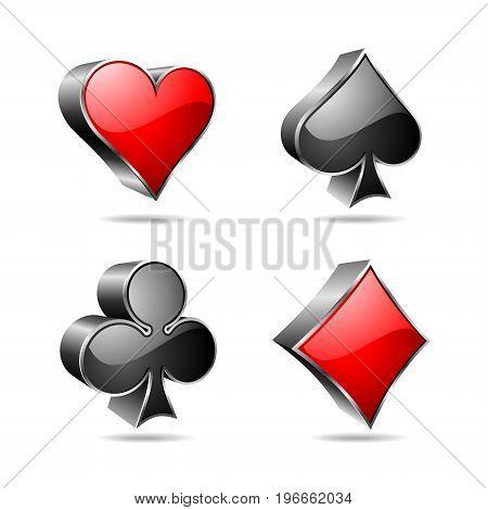 Gambling Illustration With 3D Casino Symbols On White Background.