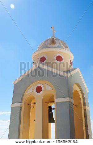 Bell Tower Of A Church At Sunset, Santorini Island, Greece