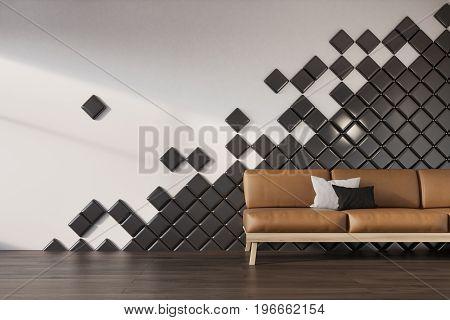 White Wall, Black Tiles, Brown Sofa