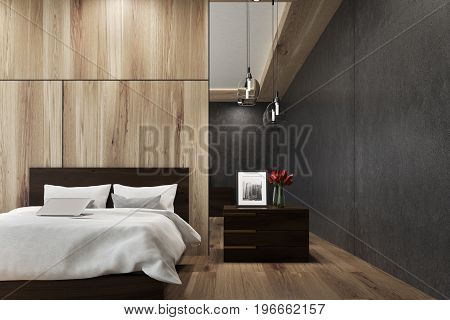 Wooden And Black Bedroom Interior
