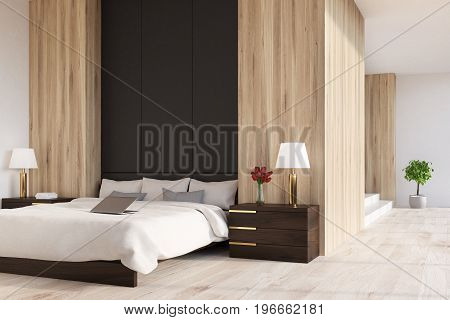 Wooden And Black Bedroom, Panoramic, Side