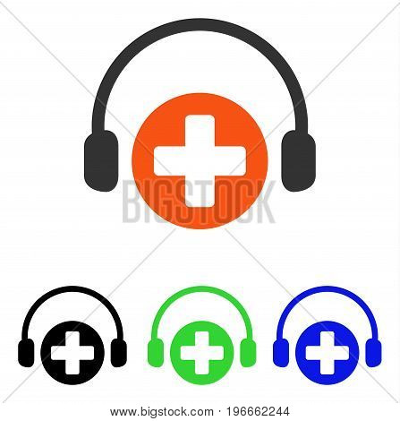 Hospital Call Service vector pictogram. Illustration style is a flat iconic colored symbol with different color versions.