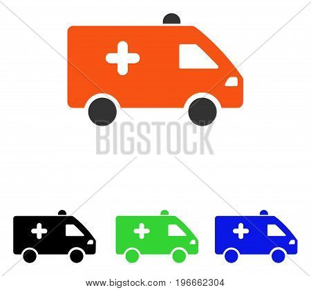 Hospital Car vector pictogram. Illustration style is a flat iconic colored symbol with different color versions.