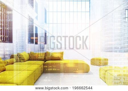 Office waiting area with a panoramic window yellow sofas and pouffes and a white wall with windows in it. 3d rendering mock up toned image double exposure