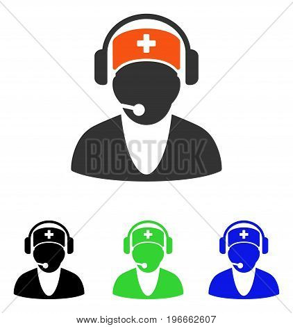 Hospital Receptionist vector pictograph. Illustration style is a flat iconic colored symbol with different color versions.