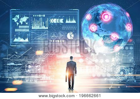 Glowing Earth hologram against a dark blue background with red placeholders and diagrams. Businessman with a suitcase. Toned image double exposure
