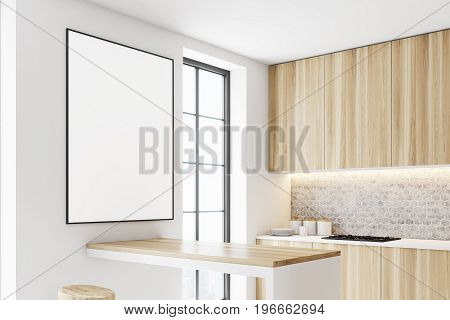 Wooden kitchen interior with a row of countertops. A framed vertical poster on a wall. Side view. 3d rendering mock up