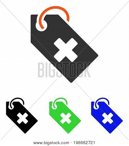 Hospital Tag vector pictogram. Illustration style is a flat iconic colored symbol with different color versions.