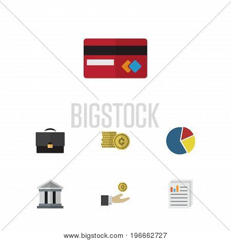 Flat Icon Gain Set Of Document, Graph, Payment And Other Vector Objects