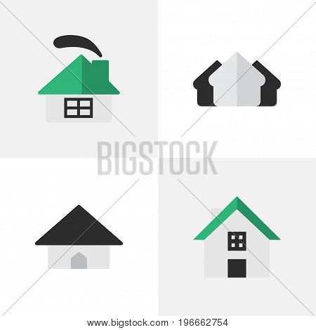 Elements Base, Dwelling, Home And Other Synonyms Estate, House And Real.  Vector Illustration Set Of Simple Real Icons.