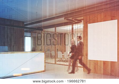 White and wooden reception counter in an office lobby with a vertical poster on a wall and a glass and blinds meeting room. People. 3d rendering mock up toned image double exposure