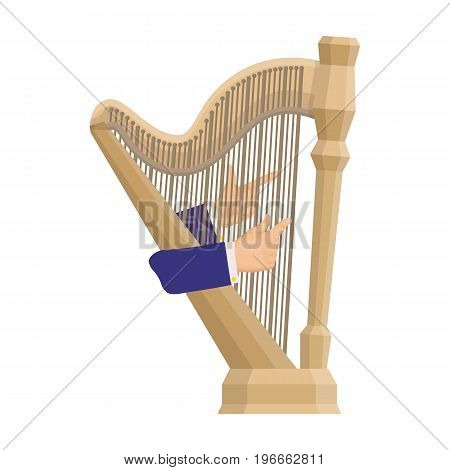 Playing the harp stringed musical instrument. Orchestral harp single icon in cartoon style vector symbol stock illustration .