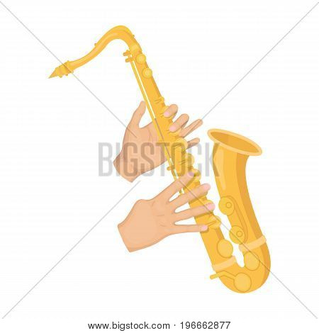 The saxophonist plays the saxophone. Golden saxophone single icon in cartoon style vector symbol stock illustration .