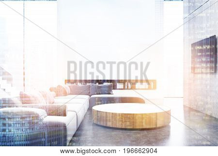 Wooden Living Room Interior, Blue Toned
