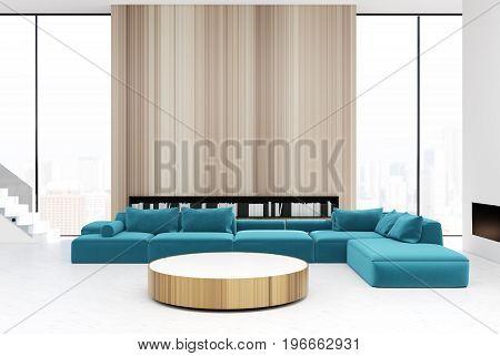 Wooden Living Room Interior, Blue Sofas