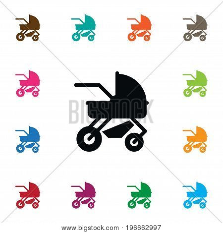 Carriage Vector Element Can Be Used For Perambulator, Carriage, Pram Design Concept.  Isolated Perambulator Icon.