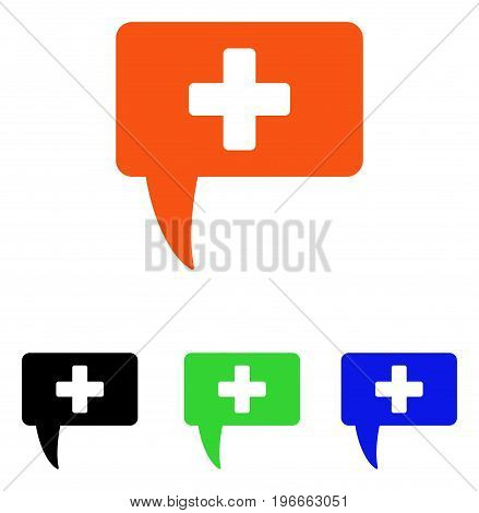 Medical Answer vector icon. Illustration style is a flat iconic colored symbol with different color versions.