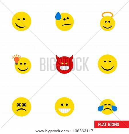 Flat Icon Gesture Set Of Cold Sweat, Grin, Cross-Eyed Face And Other Vector Objects