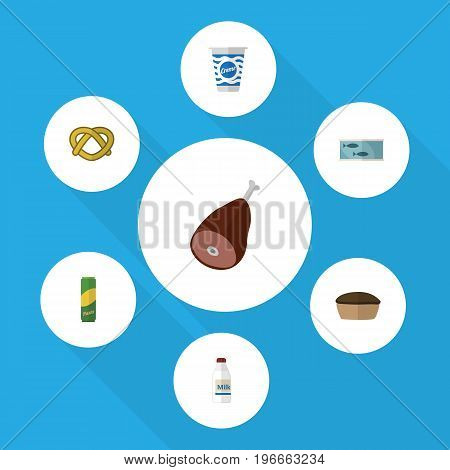 Flat Icon Meal Set Of Bottle, Spaghetti, Tart And Other Vector Objects