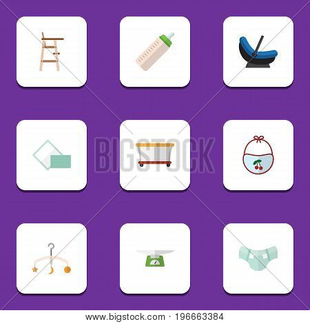 Flat Icon Kid Set Of Napkin, Pram, Child Chair And Other Vector Objects
