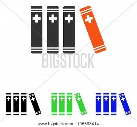 Medical Books vector pictogram. Illustration style is a flat iconic colored symbol with different color versions.
