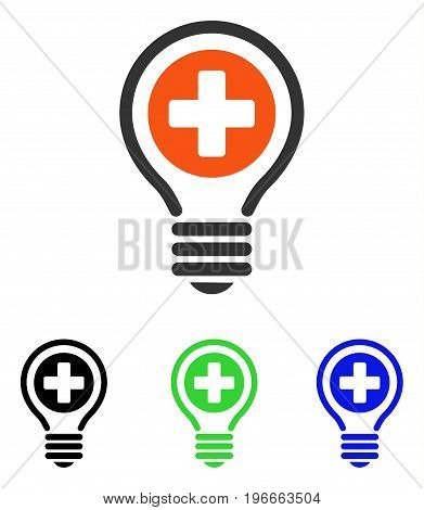 Medical Bulb vector pictogram. Illustration style is a flat iconic colored symbol with different color versions.