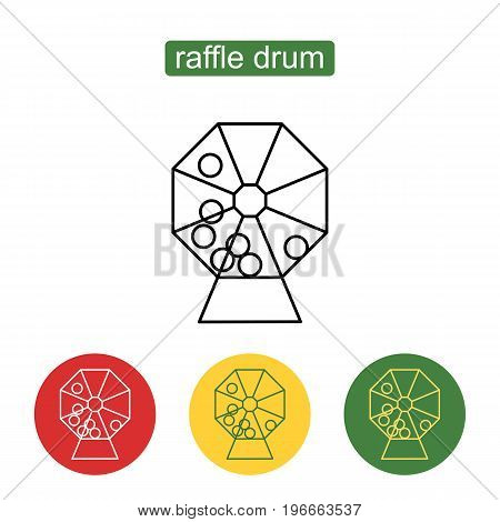Abstract creative concept vector icon of lottery drum. Lottery machine vector icon.  Outline illustration of raffle drum vector icon for web design,  mobile application, logo, ui. Editable stroke.