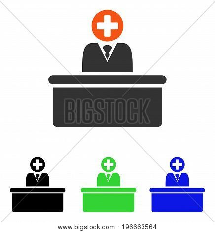Medical Bureaucrat vector pictogram. Illustration style is a flat iconic colored symbol with different color versions.