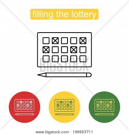 Lottery line icon. Prepaid lottery games card for numbers selecting symbol. Outline illustration of lottery concept for web design, mobile application. Editable stroke.