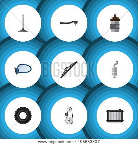 Flat Icon Auto Set Of Car Segment, Windshield, Heater And Other Vector Objects