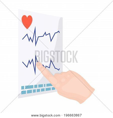 Studying the cardiogram of the heart. Medicine single icon in cartoon style vector symbol stock illustration .