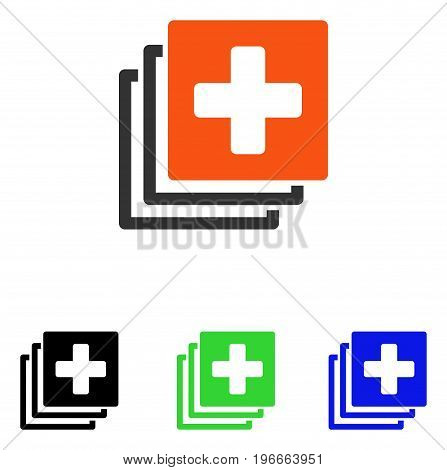 Medical Documents vector pictogram. Illustration style is a flat iconic colored symbol with different color versions.