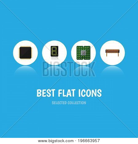 Flat Icon Electronics Set Of Bobbin, Cpu, Unit And Other Vector Objects