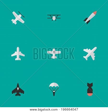 Elements Bomb, Catapults, Aircraft And Other Synonyms Vehicle, Plane And Craft.  Vector Illustration Set Of Simple Aircraft Icons.