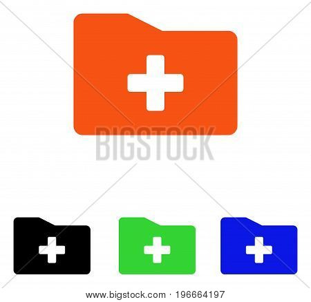 Medical Folder vector pictograph. Illustration style is a flat iconic colored symbol with different color versions.