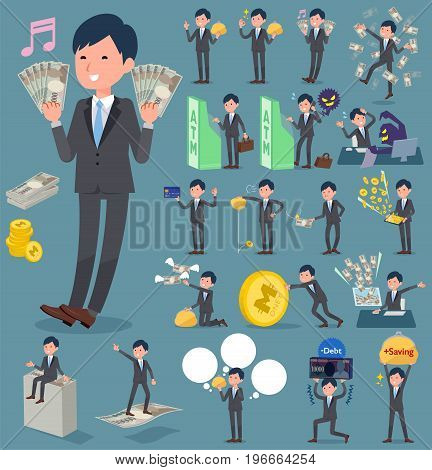 Flat Type Gray Suit Businessman_money
