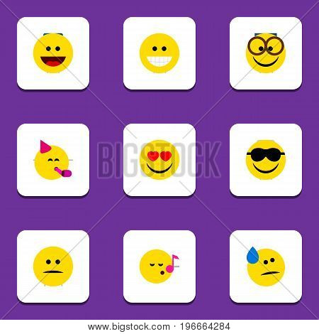 Flat Icon Gesture Set Of Tears, Grin, Displeased And Other Vector Objects
