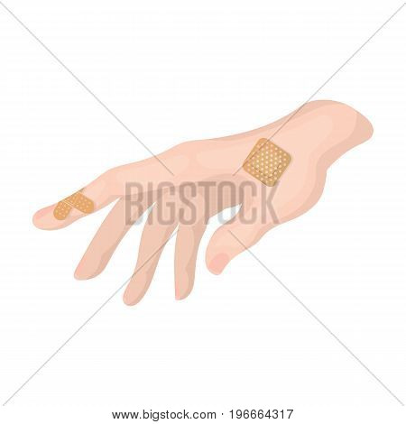 Bactericidal plaster on the arm. Medicine single icon in cartoon style vector symbol stock illustration .
