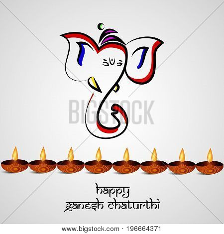 illustration of face of Hindu God Ganesh and light with happy Ganesh Chaturthi text on the occasion of Hindu Festival Ganesh Chaturthi
