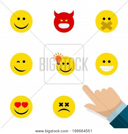 Flat Icon Gesture Set Of Have An Good Opinion, Pouting, Cross-Eyed Face And Other Vector Objects