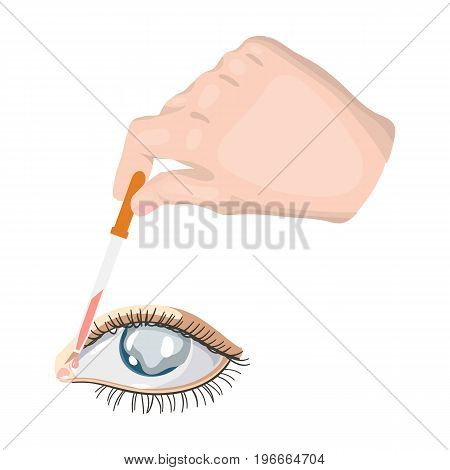 Hand wrapping the medicine in the damaged eye. Medicine single icon in cartoon style vector symbol stock illustration .