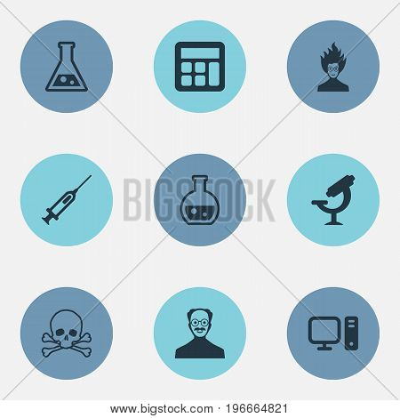 Elements Pharmacology, Reckoning, Syringe And Other Synonyms Mad, Laboratory And Genius.  Vector Illustration Set Of Simple Knowledge Icons.