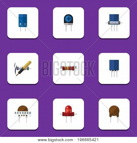 Flat Icon Device Set Of Receptacle, Recipient, Memory And Other Vector Objects