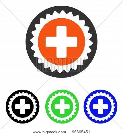 Medical Stamp vector icon. Illustration style is a flat iconic colored symbol with different color versions.