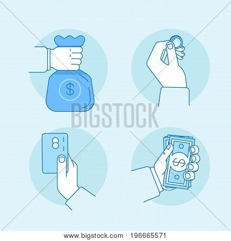 Vector Illustrations In Flat Linear Style And Blue Color - Hands Holding Money, Banknotes, Coin And