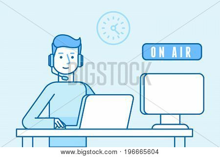 Vector Illustration In Flat Linear Style And Blue Color - Broadcaster Man On Air